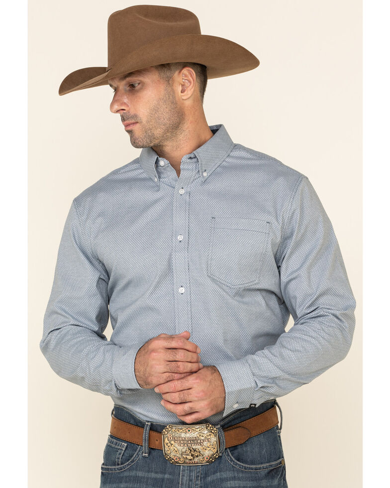 Cody James Core Men's Corpus Small Geo Print Long Sleeve Western Shirt , Medium Blue, hi-res
