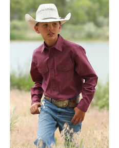 Cinch Boys' Red Geo Print Long Sleeve Western Shirt , Red, hi-res