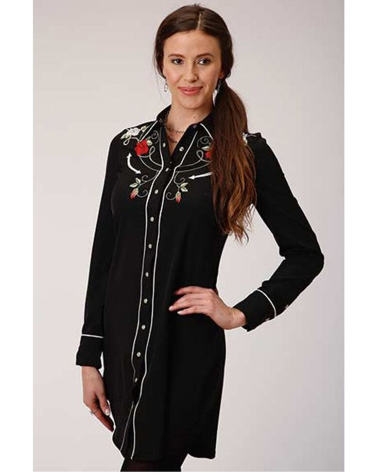 Old West Women's Rose Longhorn Long Sleeve Western Shirt, Black, hi-res