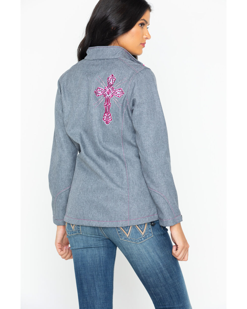Cowboy Hardware Women's Swirl Cross Poly Shell Jacket, Grey, hi-res