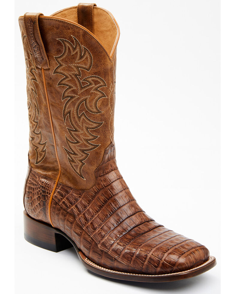 Cody James Men's Nuez Exotic Caiman Skin Western Boots - Wide Square Toe, Tan, hi-res