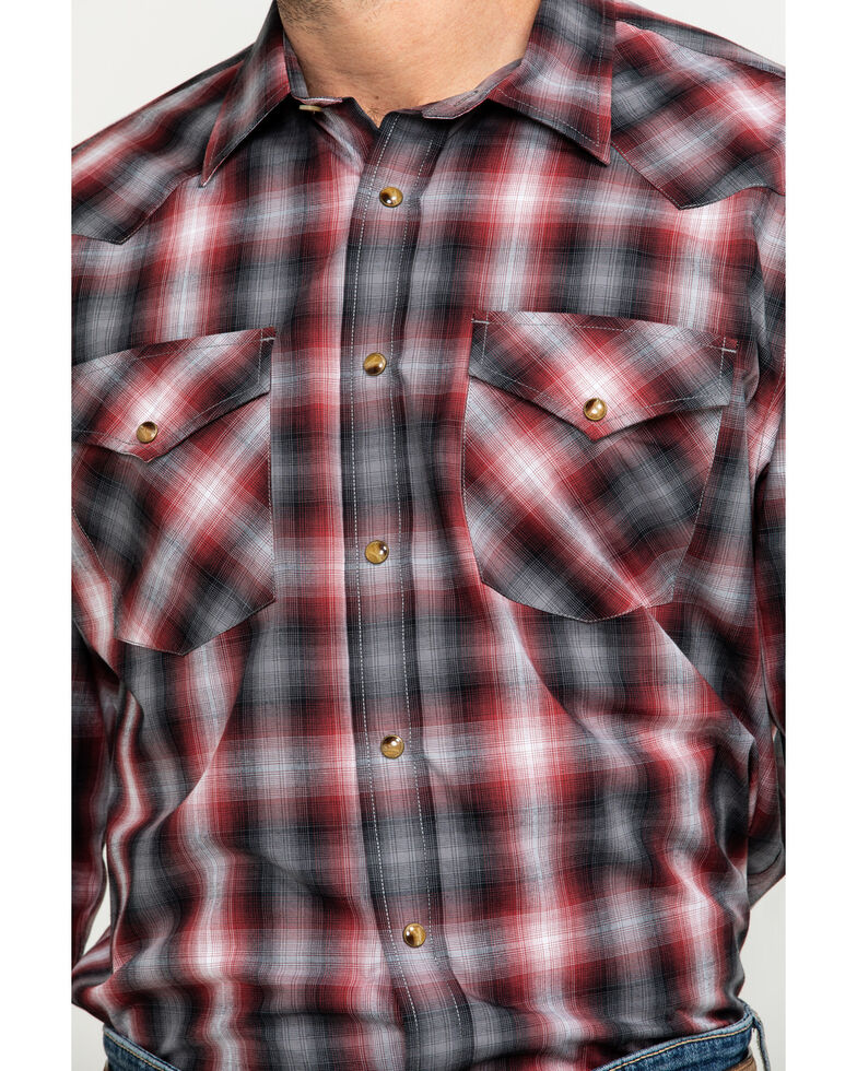 Pendleton Men's Red Frontier Small Plaid Long Sleeve Western Shirt , Red, hi-res