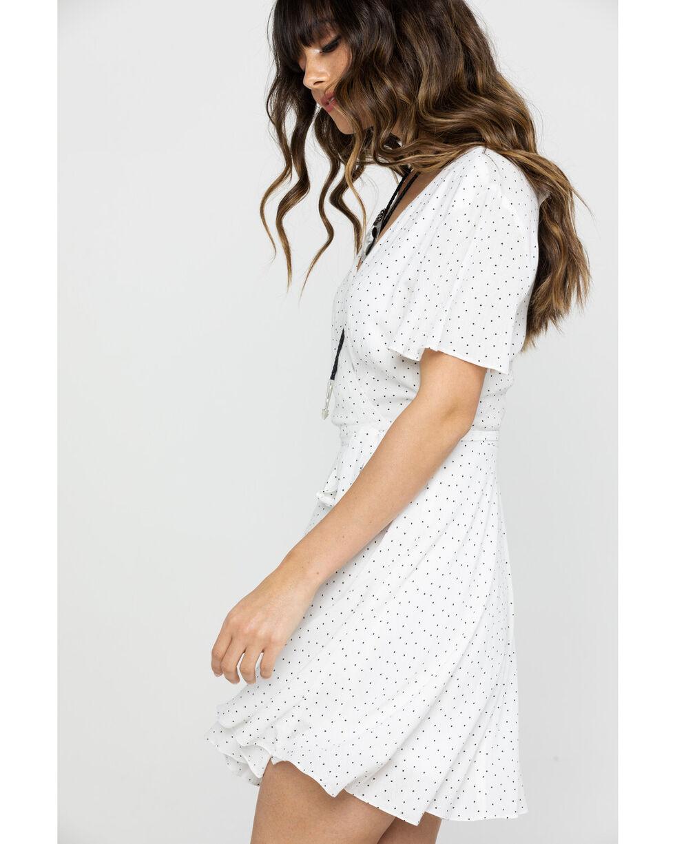HYFVE Women's Ivory Dot Surplice Belted Dress, Ivory, hi-res