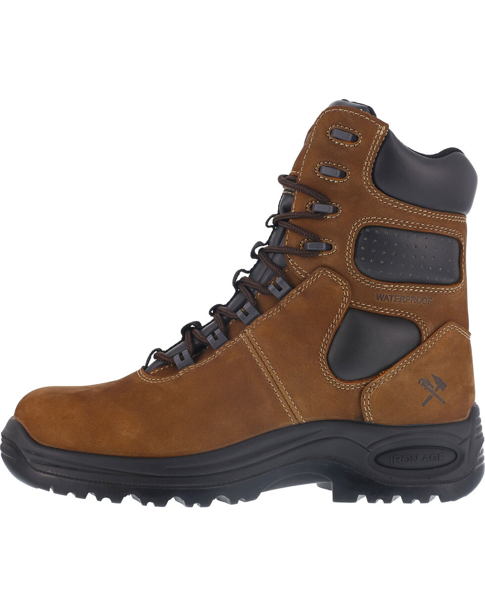 """Iron Age Men's 8"""" Insulated Waterproof Work Boots - Composite Toe , Brown, hi-res"""