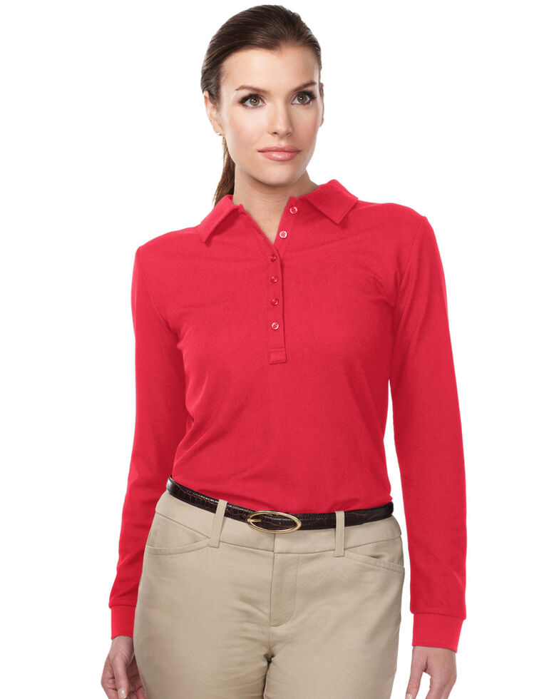 Tri-Mountain Women's Red 3X Stamina Long Sleeve Polo - Plus, Red, hi-res