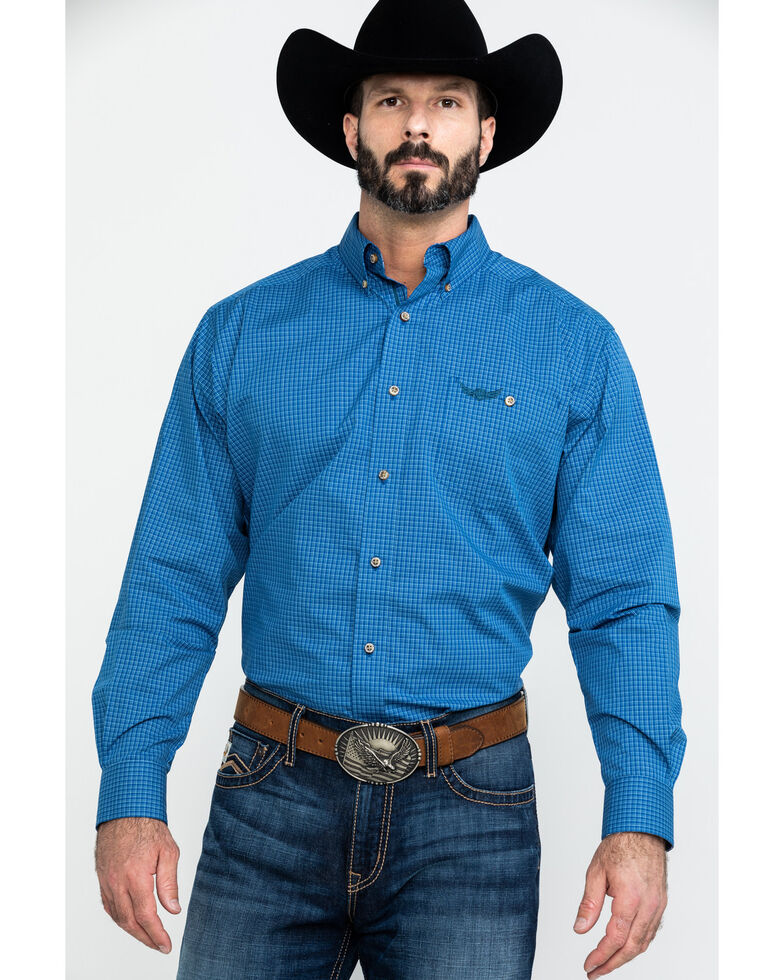 Ariat Men's Relentless Charge Check Plaid Long Sleeve Western Shirt , Blue, hi-res