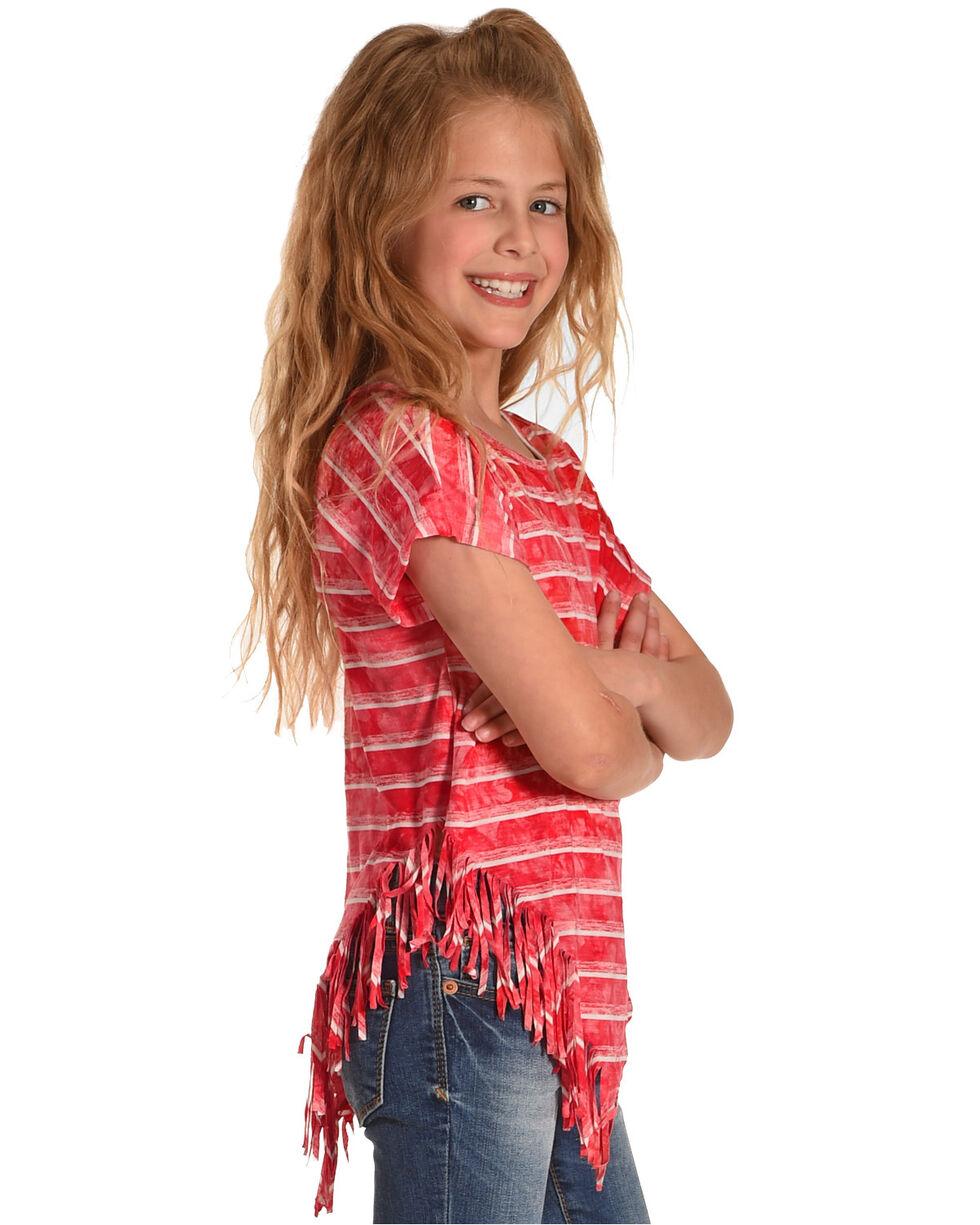 Idol Mind Girls' Striped Side Fringe Top, Red, hi-res