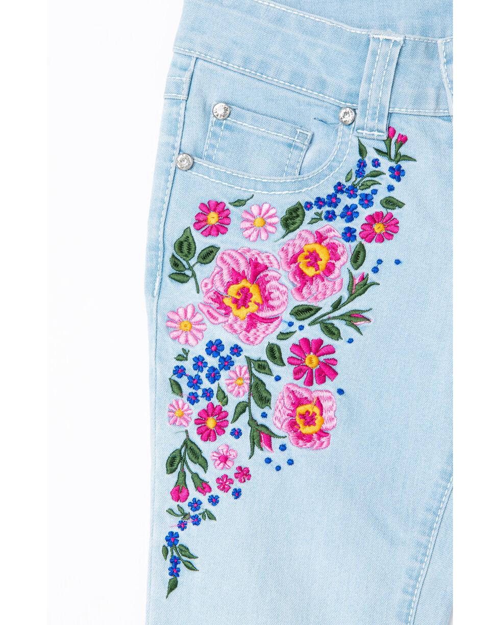 Shyanne Girls' Floral Embroidered Flare Hem Denim Jeans , Blue, hi-res