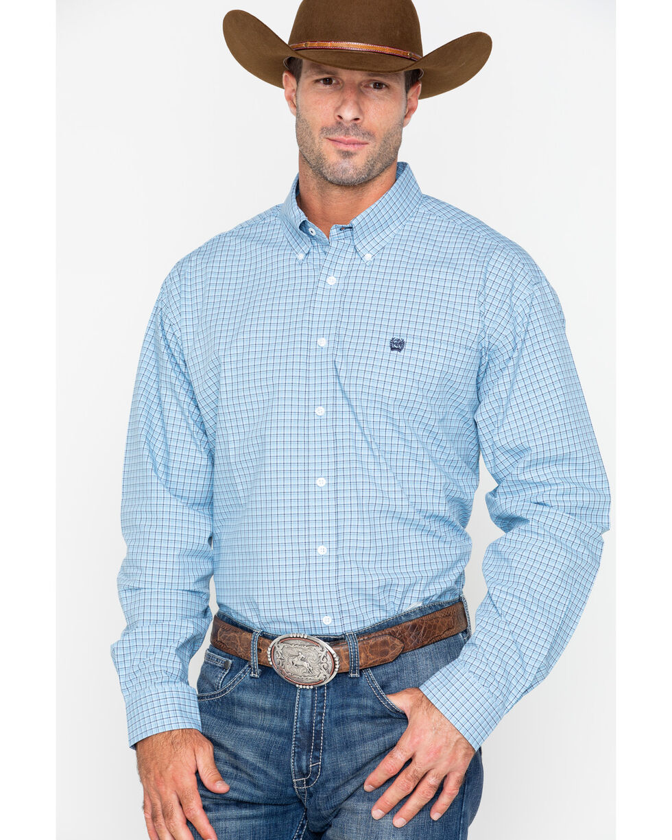 Cinch Men's Blue Long Sleeve Plaid Shirt , Light Blue, hi-res