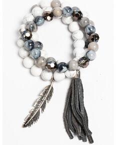 Idyllwind Women's Fringe and Feather White Turquoise 3 Bracelet Stack, Silver, hi-res