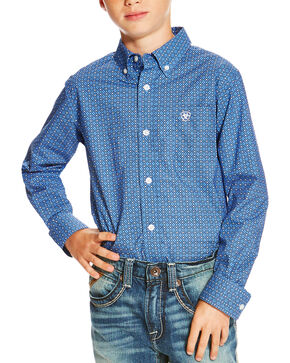 Ariat Boys' Printed Button Down Long Sleeve Shirt, Multi, hi-res