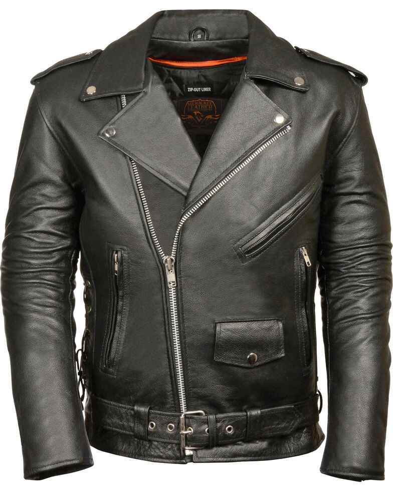 Milwaukee Leather Men's Classic Side Lace Police Style Motorcycle Jacket - Big - 3X, Black, hi-res