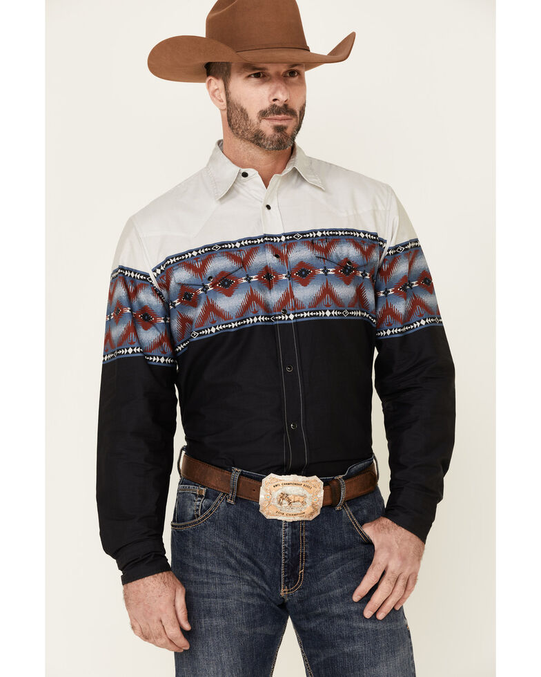 Roper Men's Vintage Blanket Aztec Border Print Long Sleeve Snap Western Shirt , Black, hi-res