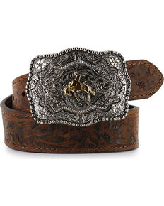 Cody James Kid's Floral Tooled Belt, Brown, hi-res