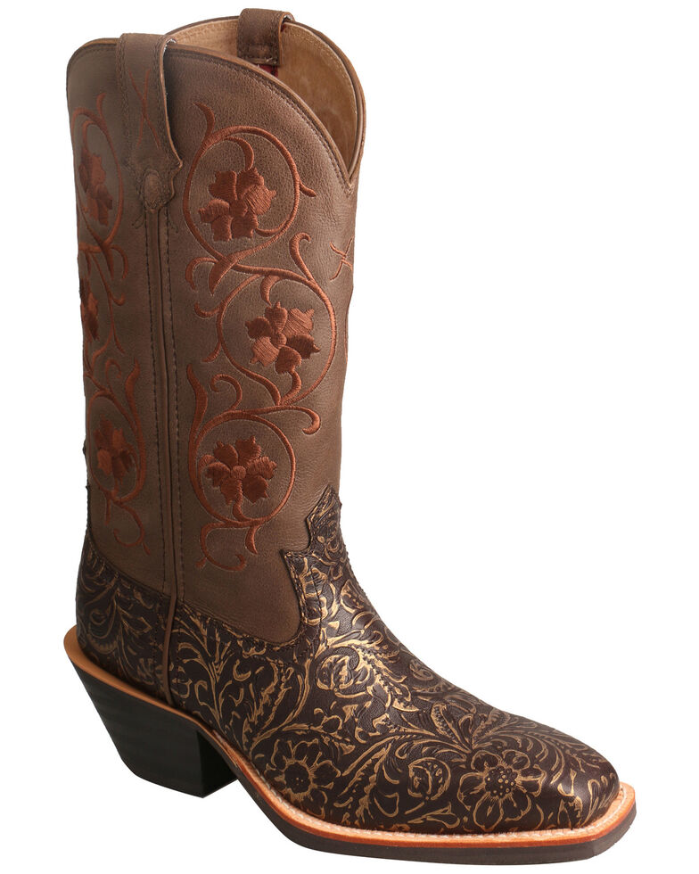 Twisted X Women's Ruff Stock Western Boots - Wide Square Toe, Brown, hi-res