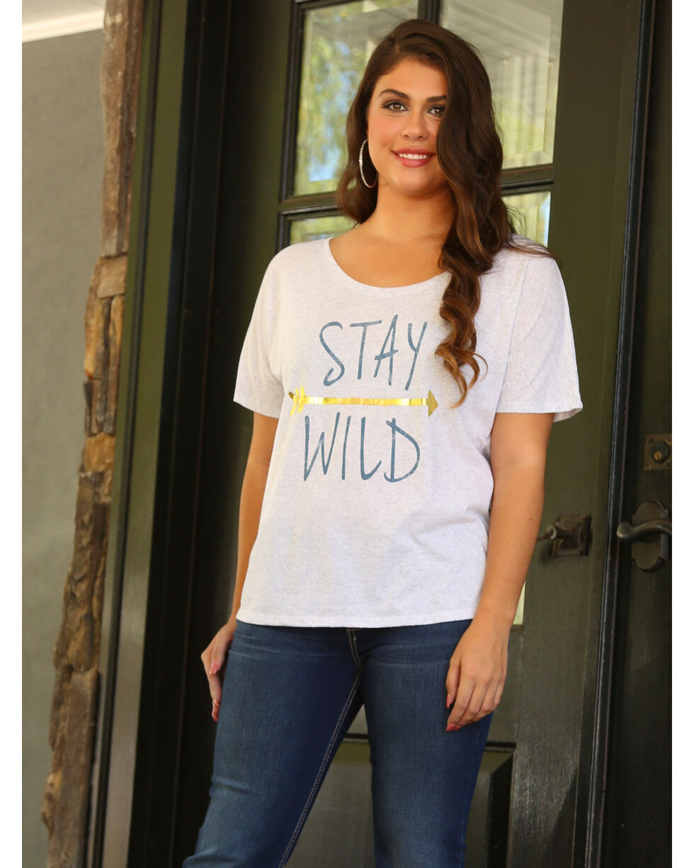 Wrangler Women's Short Sleet Stay Wild Tee, Cream, hi-res