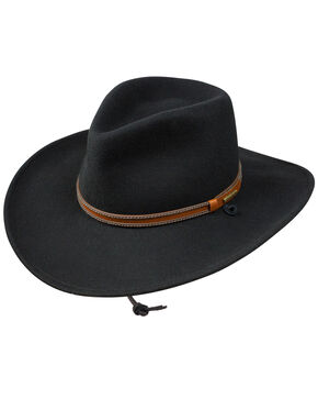 Stetson Men's Lawton Crushable Wool Western Hat , Black, hi-res