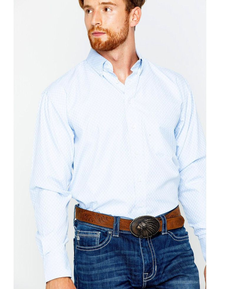 Resistol Men's Blue Wendell Button Up Long Sleeve Shirt, Blue, hi-res