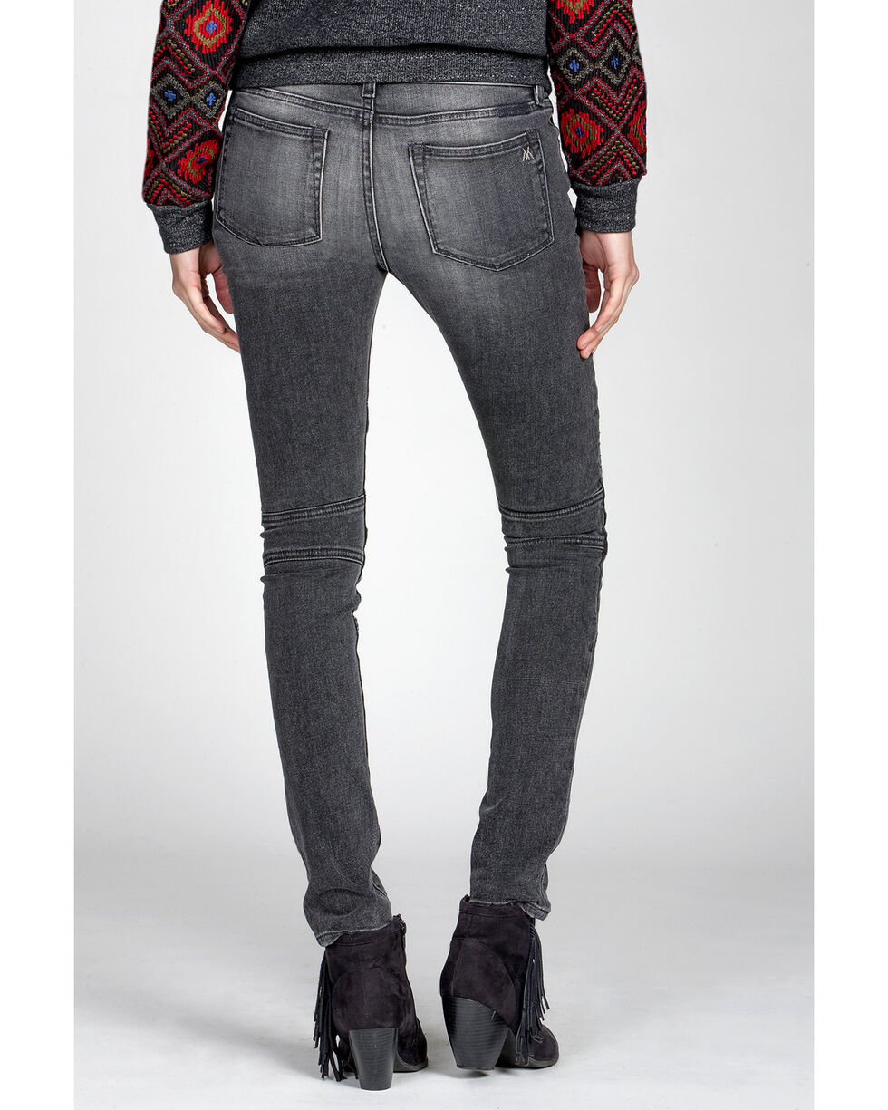 MM Vintage Women's Kate Biker Black Skinny Jeans, Black, hi-res