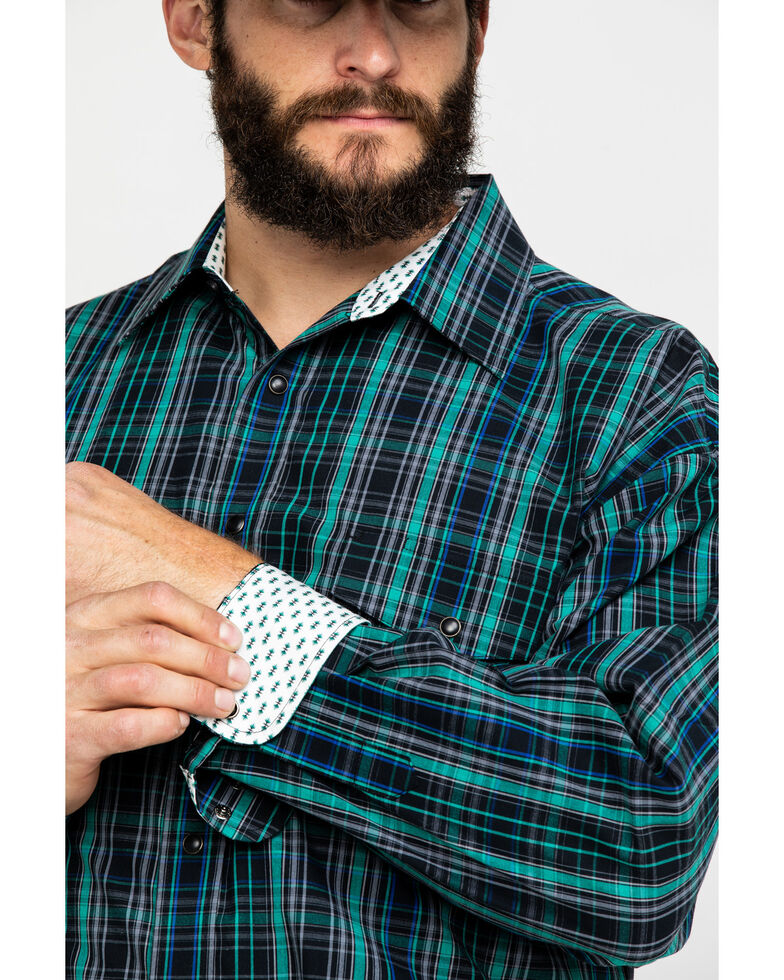Panhandle Select Men's Forest Green Small Poplin Plaid Long Sleeve Western Shirt , Forest Green, hi-res