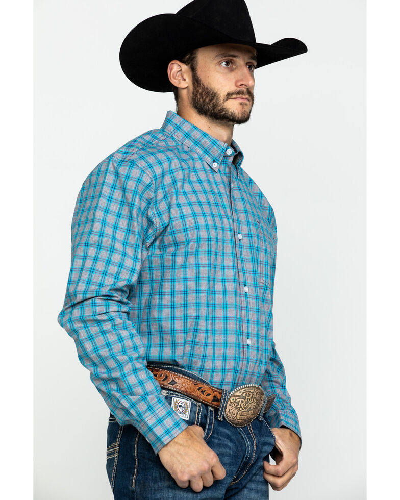 Cody James Core Men's Rio Grande Med Plaid Long Sleeve Western Shirt , Grey, hi-res