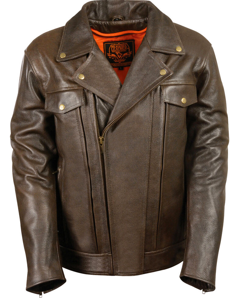 Milwaukee Leather Men's Brown Utility Pocket MC Jacket - Big 3X , Brown, hi-res
