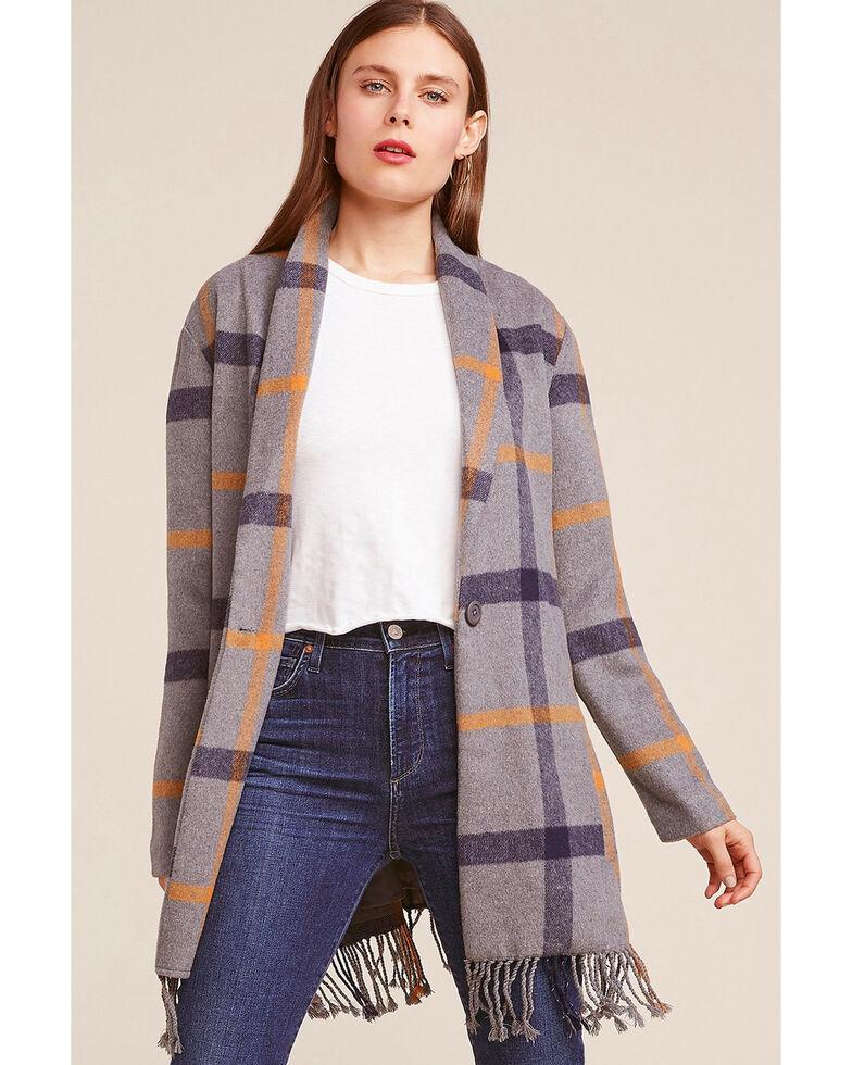 BB Dakota Women's Plaid Fringe Coat , Charcoal, hi-res