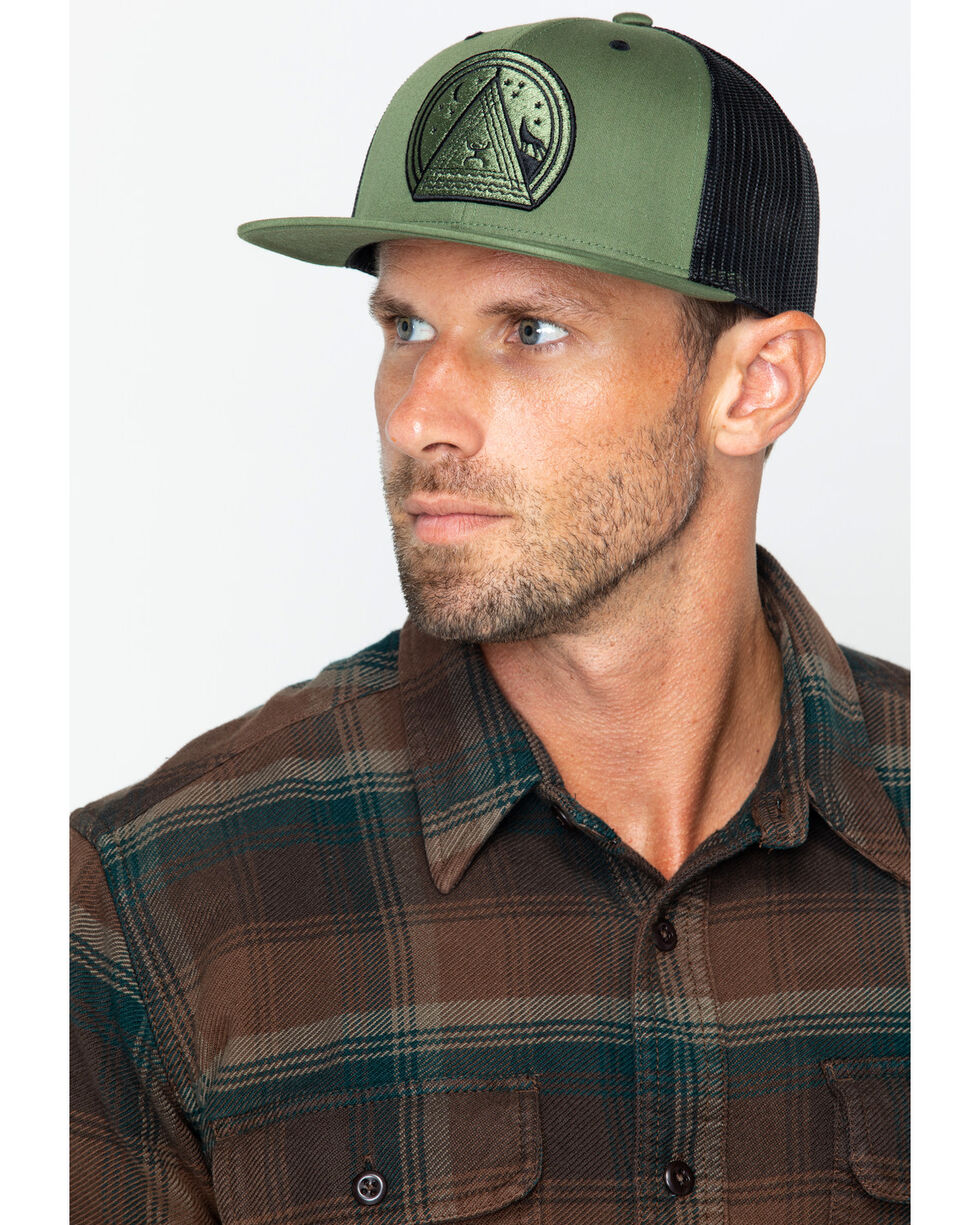 HOOey Men's Green and Black Music Patch Mesh Cap, Green, hi-res