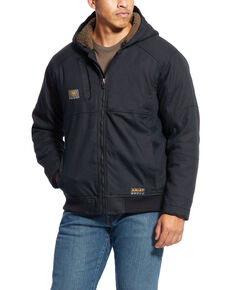 Ariat Men's Grey Rebar DuraCanvas Hooded Jacket - Big , Black, hi-res