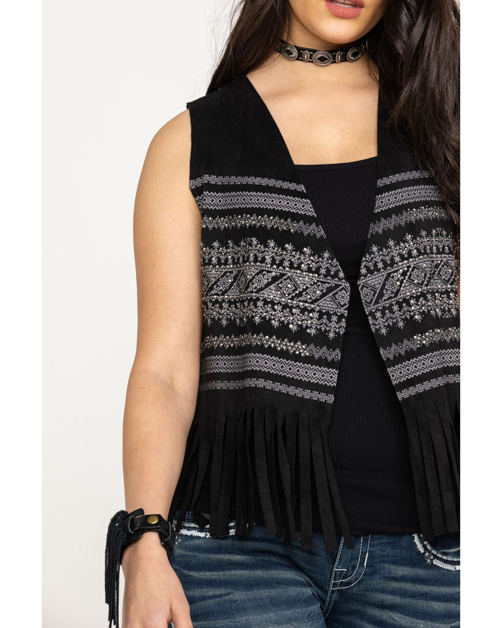 Vocal Women's Bling Print Fringe Short Vest, Black, hi-res