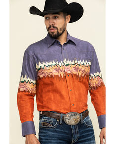 Wrangler Silver Edition Men's Plum Checotah Border Print Long Sleeve Western Shirt , Rust Copper, hi-res