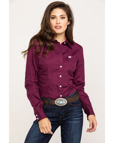 45475d6f92 Cinch Women's Burgundy Button Down Long Sleeve Western Shirt