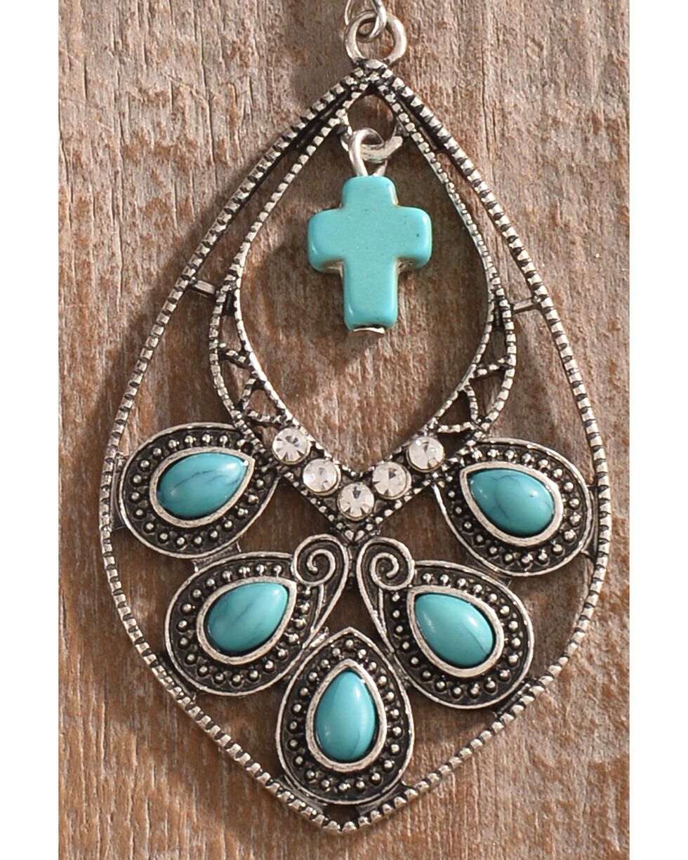 Shyanne Women's Guadalupe Cross Teardrop Earrings, Silver, hi-res