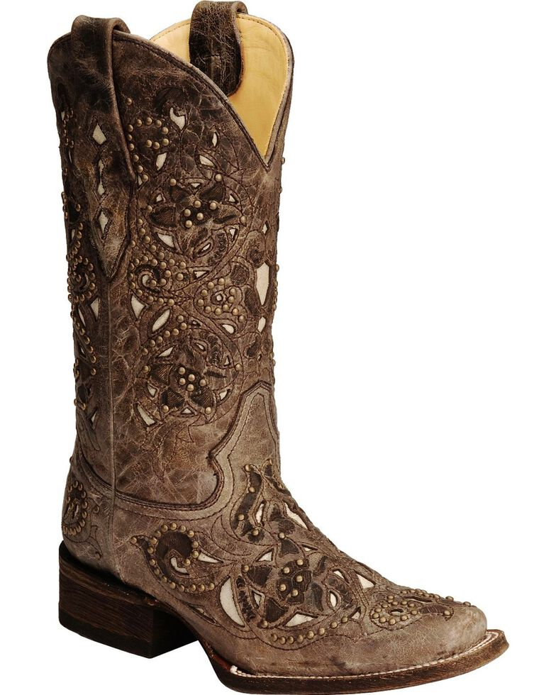 Corral Women's Vintage Inlay and Stud Square Toe Western Boots, Brown, hi-res