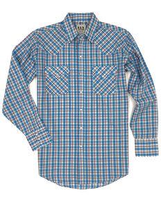 Ely Cattleman Men's Multi Small Plaid Long Sleeve Western Shirt , Blue, hi-res