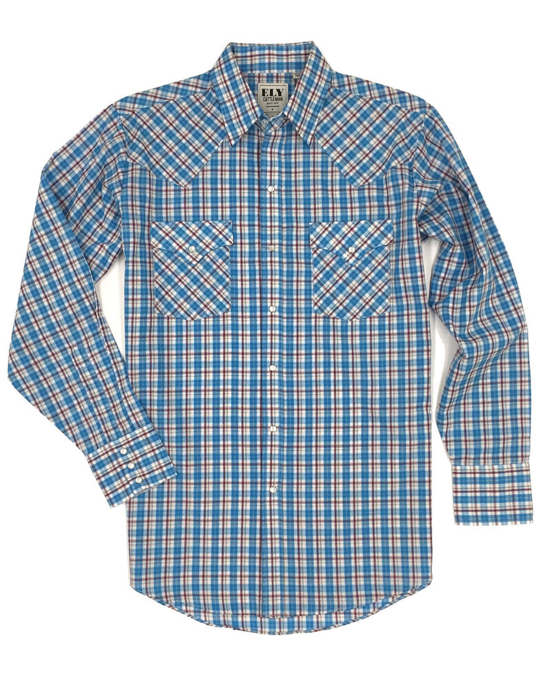 Ely Cattleman Men's Multi Small Plaid Long Sleeve Western Shirt , Blue, hi-res