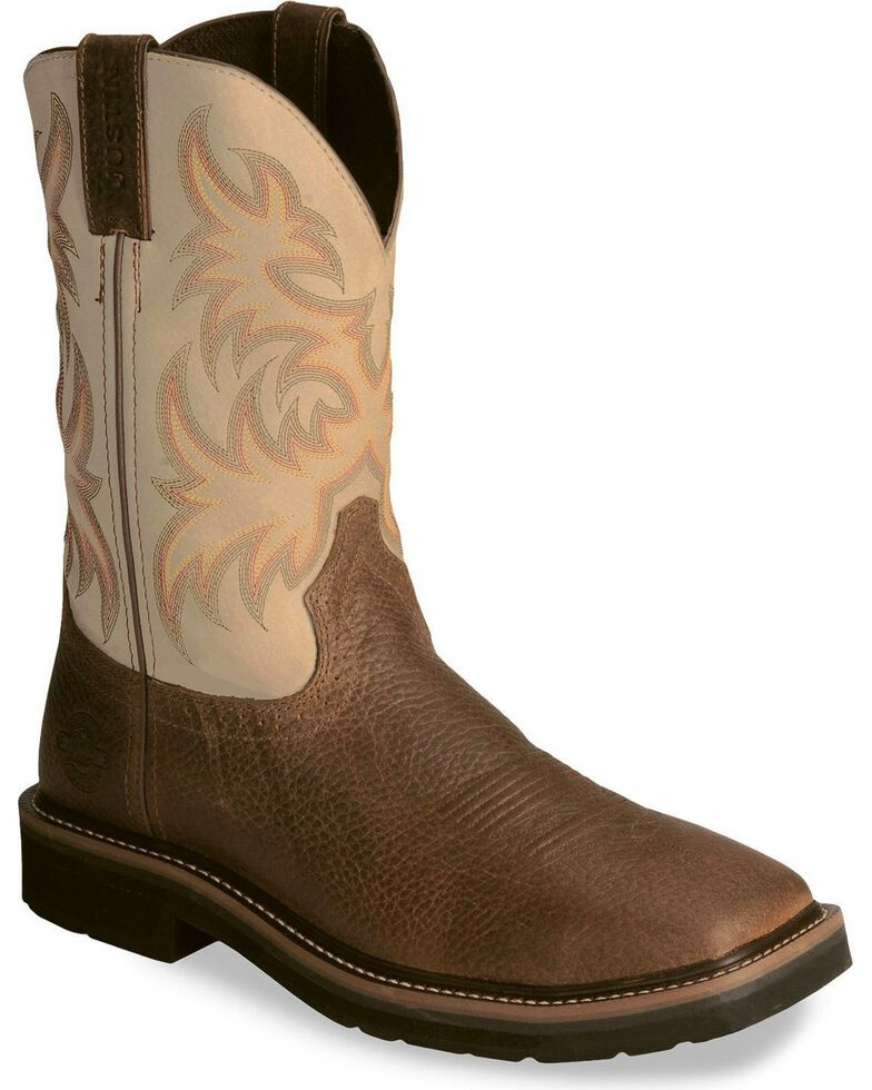 "Justin Men's Stampede 11"" Western Work Boots, Copper, hi-res"