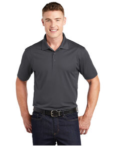 Sport Tek Men's 3XL Micro Sport Wick Short Sleeve Polo Work Shirt - Big , Grey, hi-res