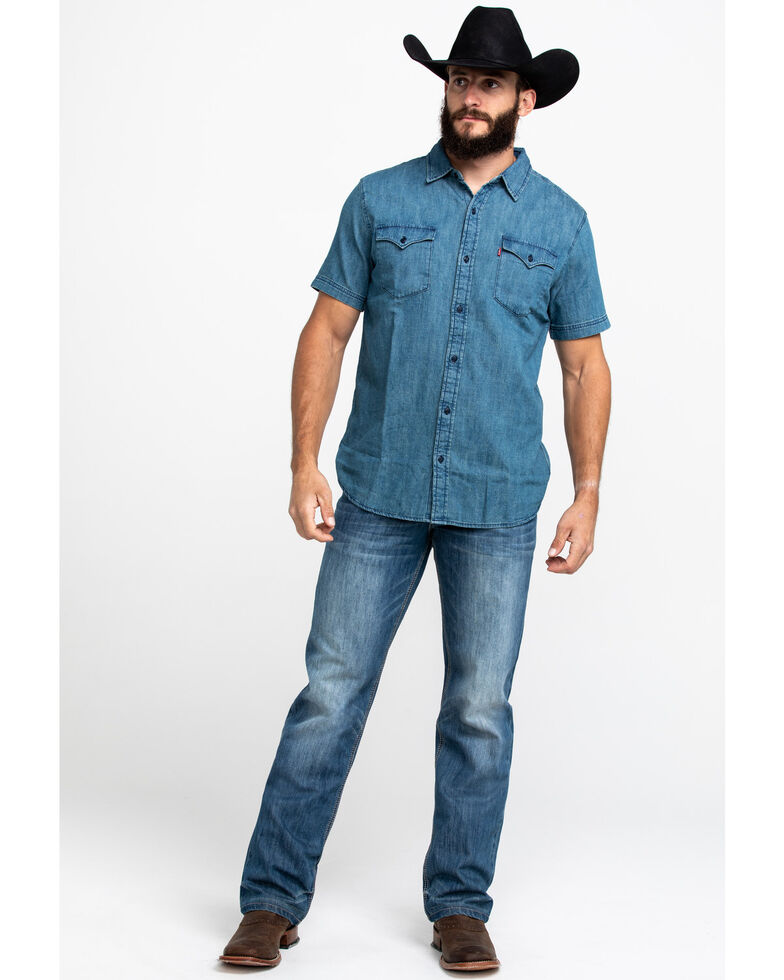 Levis Men's Nevin Denim Short Sleeve Western Shirt , Navy, hi-res