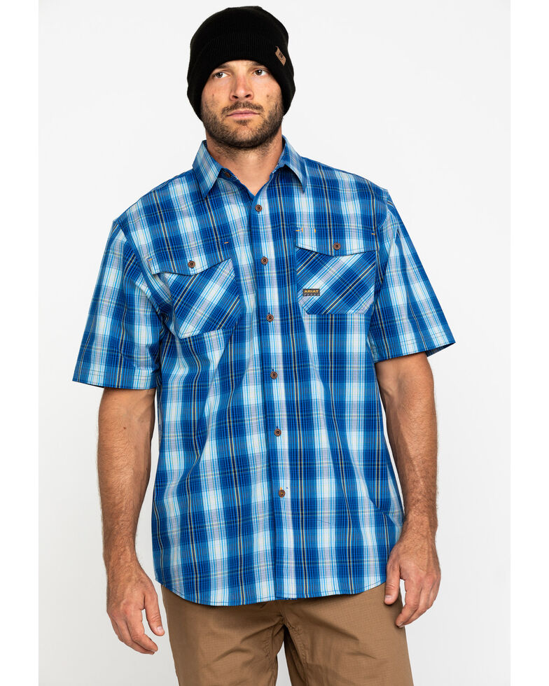 Ariat Men's Navy Plaid Rebar Made Tough Short Sleeve Work Shirt - Tall , Navy, hi-res