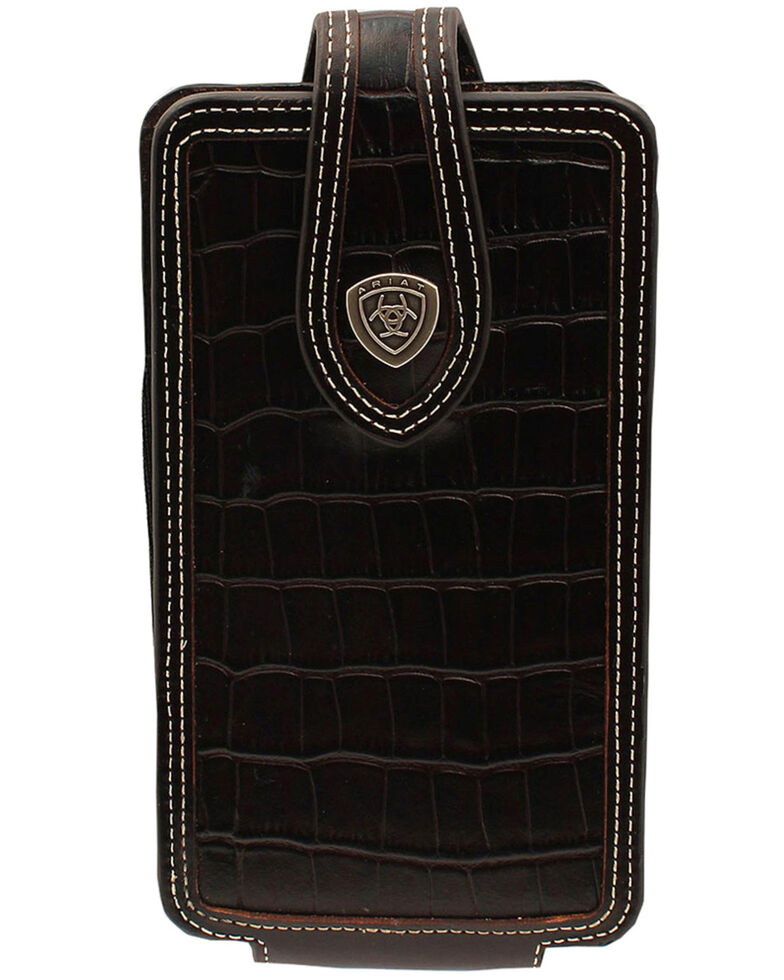 Ariat Men's Black Croc Print Large Cell Phone Case, Dark Brown, hi-res