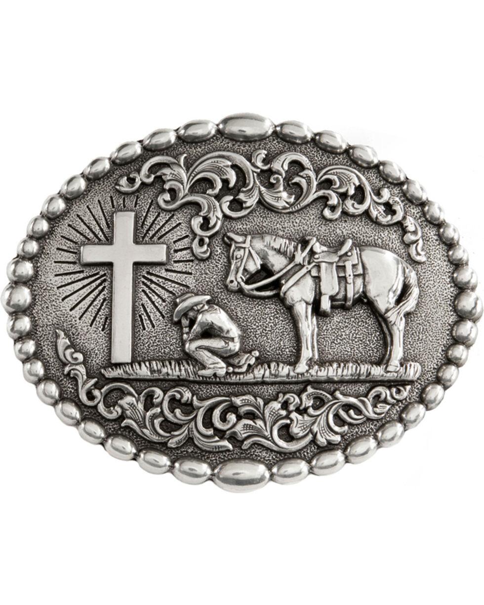 Nocona Belt Co Men's Christian Cowboy Belt Buckle, Silver, hi-res