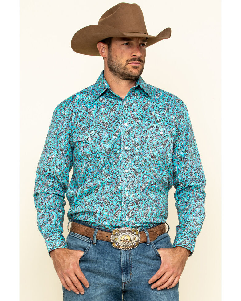 Rough Stock By Panhandle Men's Candia Paisley Print Long Sleeve Western Shirt , Turquoise, hi-res