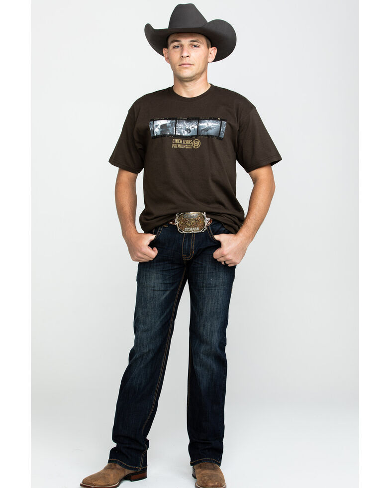 Rock & Roll Cowboy Men's Dark Vintage Pistol Stretch Straight Jeans , Blue, hi-res