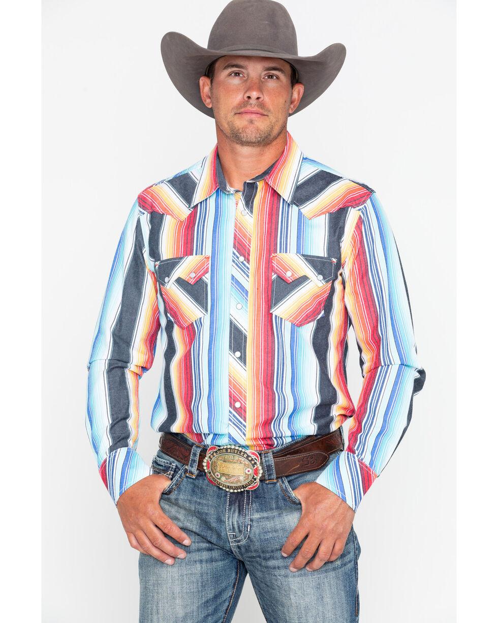 Rock & Roll Cowboy Men's Serape Striped Long Sleeve Western Shirt , Red, hi-res