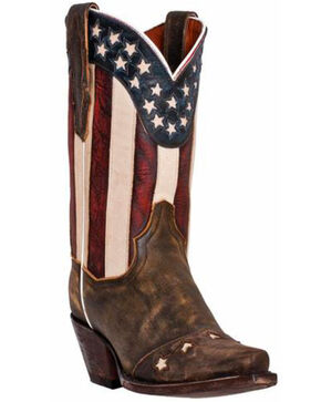 "Dan Post Women's 11"" Liberty Stars & Stripes Boots, Brown, hi-res"