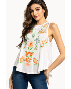Free People Women's Flower Power Tank, Ivory, hi-res