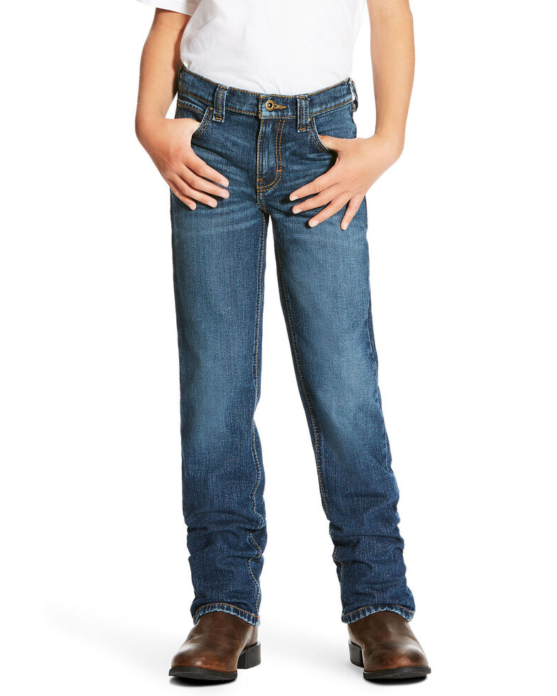 Ariat Boys' Freeman Legacy Low Stretch Relaxed Bootcut Jeans , Blue, hi-res