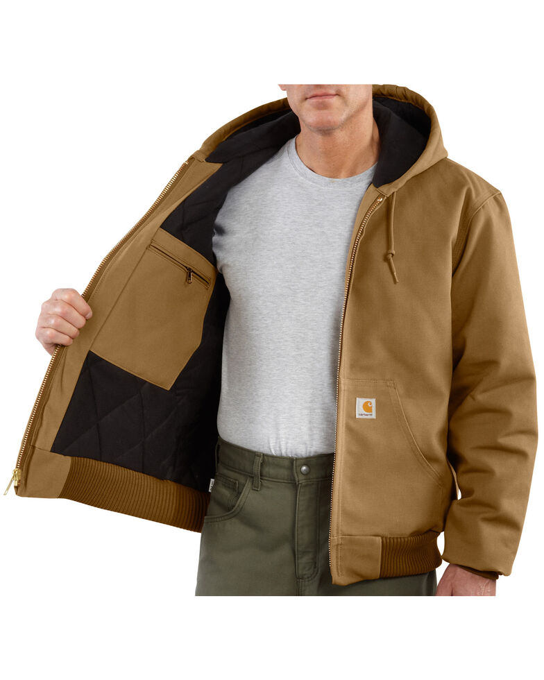 Carhartt Men's Quilted Flannel Lined Duck Active Work Jacket, Brown, hi-res