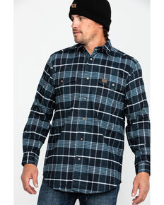 Wrangler Riggs Workwear Men's Navy Hooded Flannel Work Jacket , Blue, hi-res